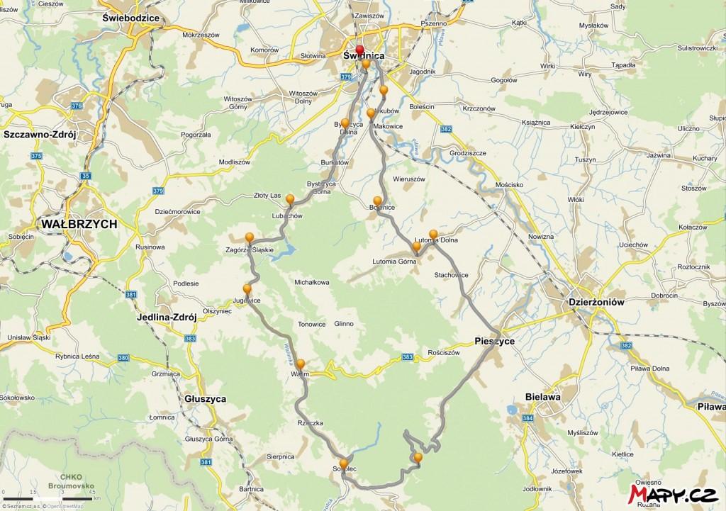 Trasa samochodowa Świdnica – Przełęcz Jugowska – Świdnica (źródło: Mapy.cz)