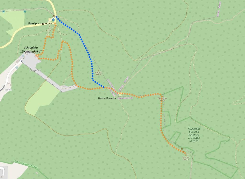 Trasa Przełęcz Jugowska > Kalenica > Rymarz > Przeł. Jugowska (źródło: OpenStreetMap.org)